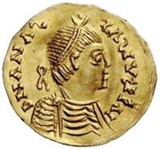 1 Tremissis - Baduila / In the name of Anastasius I, 491-518 (Ticinum) – obverse