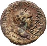 83 Nummi (Countermark; Sestertius of Vespasian, 69-79) – obverse
