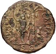 83 Nummi (Countermark; Sestertius of Vespasian, 69-79) – reverse