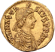 1 Tremissis - Theoderic / In the name of Anastasius I, 491-518 (One star left; Mediolanum/Milan) – obverse