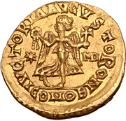 1 Tremissis - Theoderic / In the name of Anastasius I, 491-518 (One star left; Mediolanum/Milan) – reverse