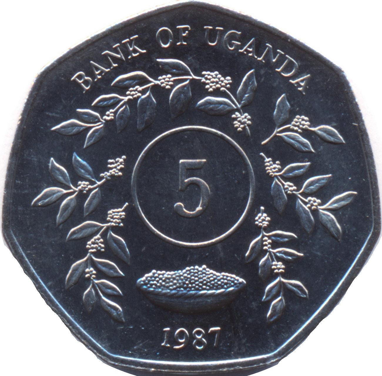 E Coins of All Nations Uganda 1 Shilling 1987  UNC KM#27