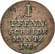 1 Pfennig - Friedrich Wilhelm von Westphalen – reverse