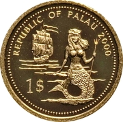 1 Dollar (Lionfish & Parrotfish; Gold Proof Issue) – obverse