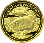 1 Dollar (Blueface Angelfish & Butterflyfish; Gold Proof Issue) – reverse