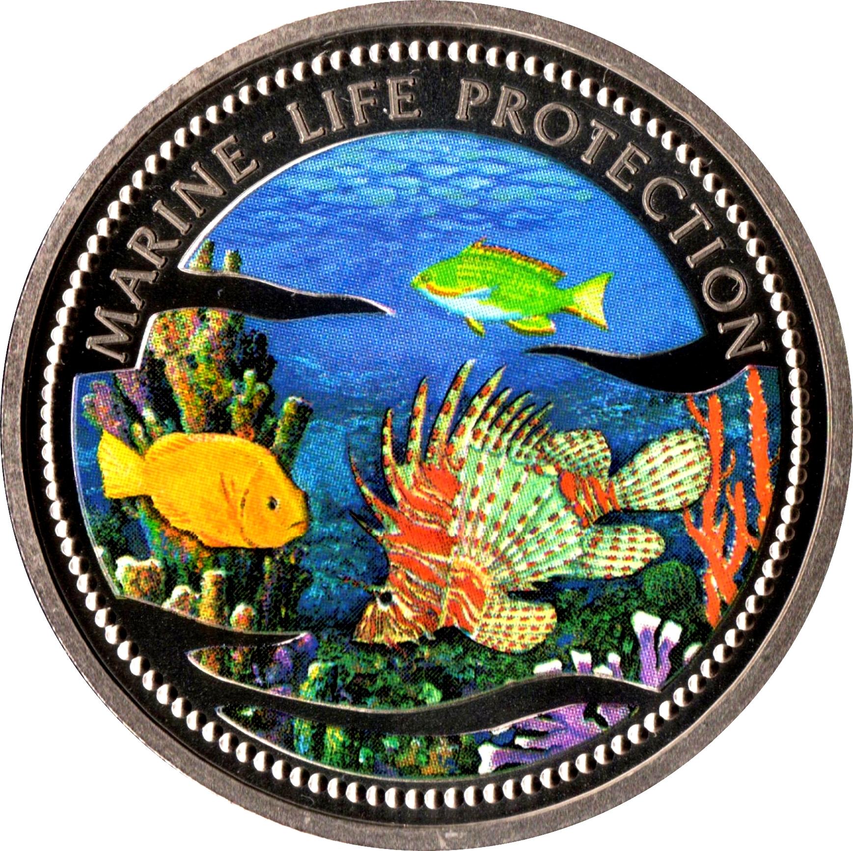 wildlife animal Mermaid BU coin 2000 Palau 1 dollar Lion fish