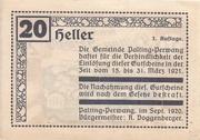 20 Heller (Palting-Perwang) -  reverse