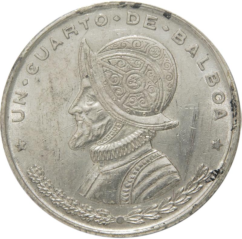 1961 Panama Un Cuarto Balboa BU .900 Silver Armored Bust Coin