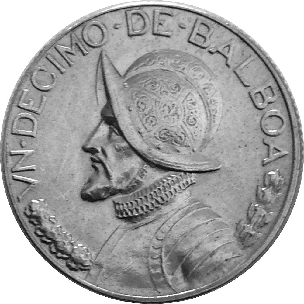 PANAMA KM10 1966 VF-VERY FINE-NICE OLD VINTAGE CIRCULATED USED 1//10 BALBOA COIN