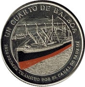 ¼ Balboa (First Passage through the Panama Canal) -  obverse