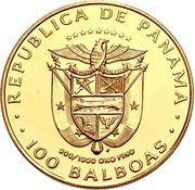 100 Balboas (Golden Turtle - Pre-Columbian Art) -  obverse