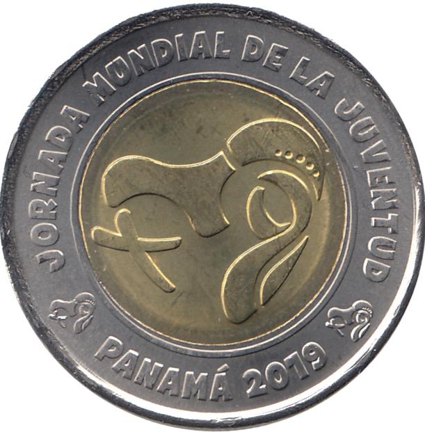 BI-METALLIC NON-COLOR COIN 2019 PANAMA 1 BALBOA WORLD YOUTH DAY COMM