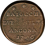 2 ½ Baiocchi - Pius VI – reverse