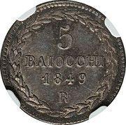 5 Baiocchi - Pio IX (900 Silver) – reverse