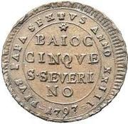 5 Baiocchi – obverse