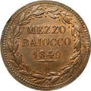 ½ Baiocco - Pio IX (Oval shield) – reverse