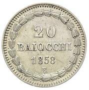 20 Baiocchi - Pio IX (800 Silver - Closed wreath) – reverse