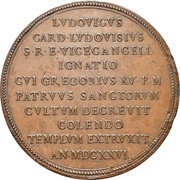 Medal - Gregory XV (Laying of the foundation stone Church of St. Ignazio) – reverse