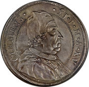 1 Piastra - Clemente XI (Bust - Papal arms) – obverse