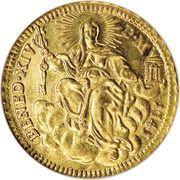 1 Zecchino - Benedetto XIV (REPENTE DE CŒLO - Holy Mother Church - Long shield) – reverse