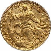 1 Zecchino - Clemente XIII (SVPRA FIRMAM PETRAM - Holy Mother Church - Facing) – reverse
