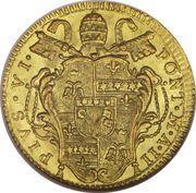 1 Zecchino - Pio VI (AVXILIVM DE SANCTO - Holy Mother Church - Ornate shield) – obverse