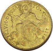 1 Zecchino - Pio VI (AVXILIVM DE SANCTO - Holy Mother Church - Ornate shield) – reverse