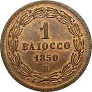 1 Baiocco - Pio IX (Closed wreath) – reverse