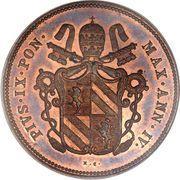 2 Baiocchi - Pio IX (Closed wreath) – obverse
