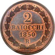 2 Baiocchi - Pio IX (Closed wreath) – reverse