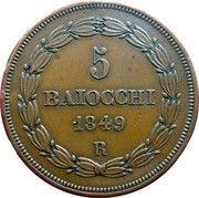 5 Baiocchi - Pio IX (Smaller shield above laurel branches) – reverse