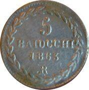 5 Baiocchi - Pio IX (800 Silver) – reverse