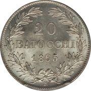 20 Baiocchi - Pio IX (835 Silver) – reverse