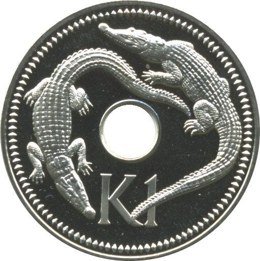 elf Papua New Guinea 1 Kina 1976 FM Proof Crocodiles