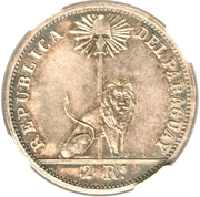 """2 Reales (Silver """"Small Year"""" Pattern) – obverse"""