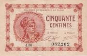 50 Centimes - Chambre de Commerce de Paris -  obverse