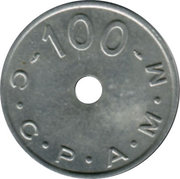 100 Francs (Emergency Coinage) – reverse