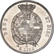 5 Lire, 1 Scudo - Roberto di Borbone – reverse