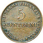 5 Centesimi - Maria Luigia – reverse