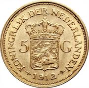 5 Gulden - Wilhemina – reverse