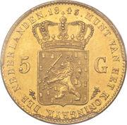 5 Gulden - Willem II – reverse