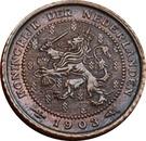 ½ Cent - Wilhelmina – obverse