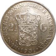 2½ Gulden - Wilhelmina I – reverse