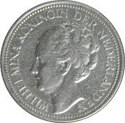 25 Cents - Wilhelmina – obverse