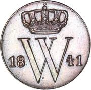 ½ Cent - Willem II – obverse