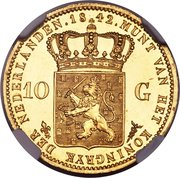 10 Gulden - Willem II – reverse
