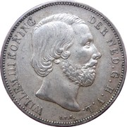 1 Gulden - Willem III -  obverse