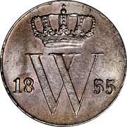 ½ Cent - Willem III – obverse