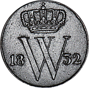 ½ Cent - Willem I – obverse