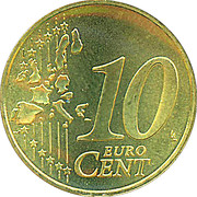 10 Euro Cent - Beatrix (1st map) -  reverse
